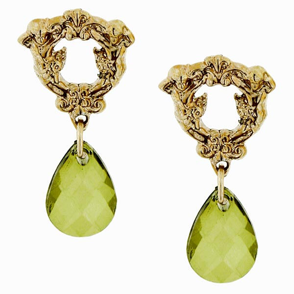 Gold-Tone Olivine Briolette Drop Earrings