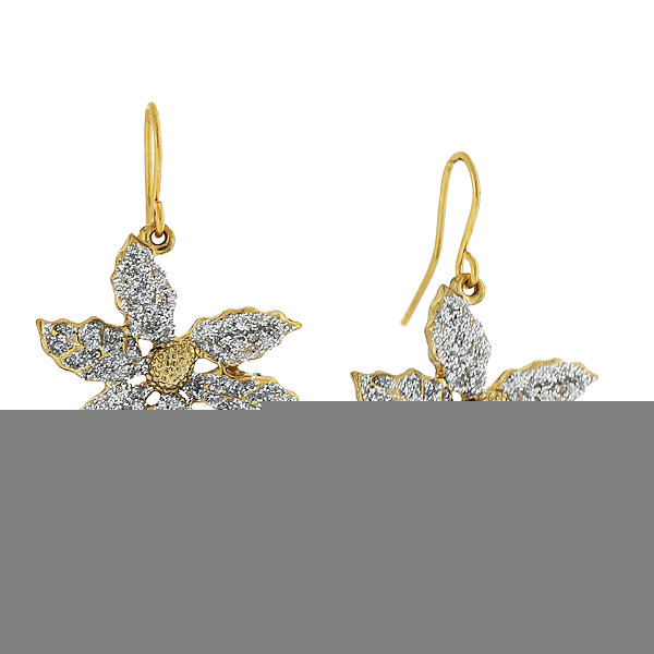 Sparkling White Poinsettia Drop Earrings