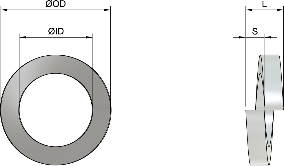 M10 Rectangular Profile Spring Washers (DIN 127B) - Stainless Steel (A1) Drawing
