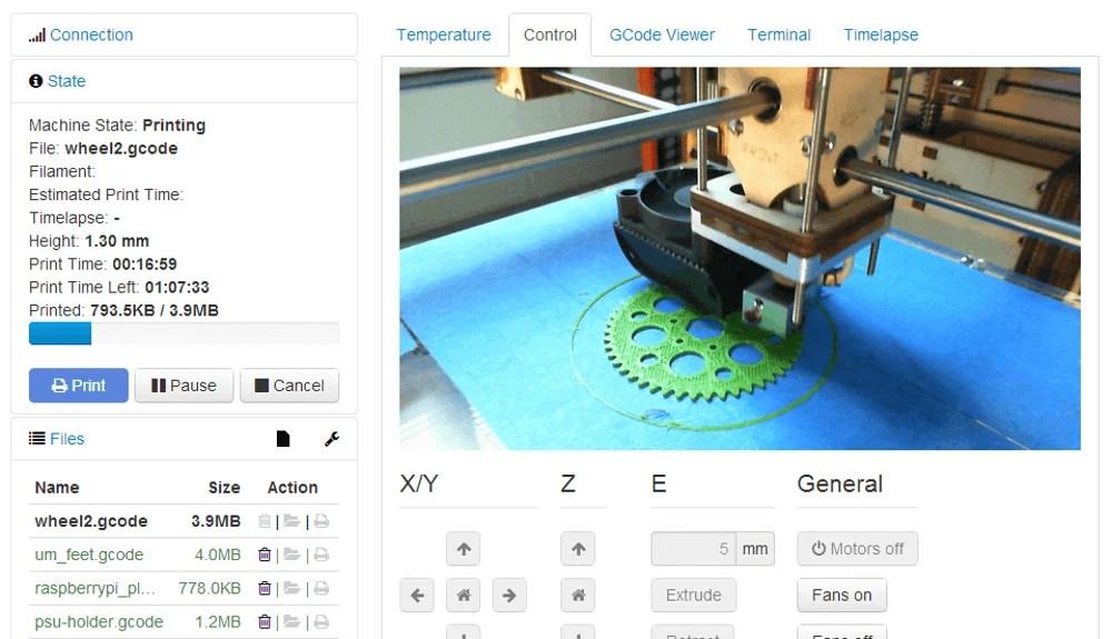 logiciel impression 3d octoprint