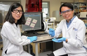 Ph.D student Ms. Sun Yajuan & Asst. Professor Soh Siow Long with their patented technology.