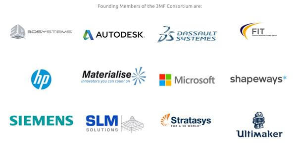 Founding members of the 3MF Consortium include all the big names in the 3D printing industry