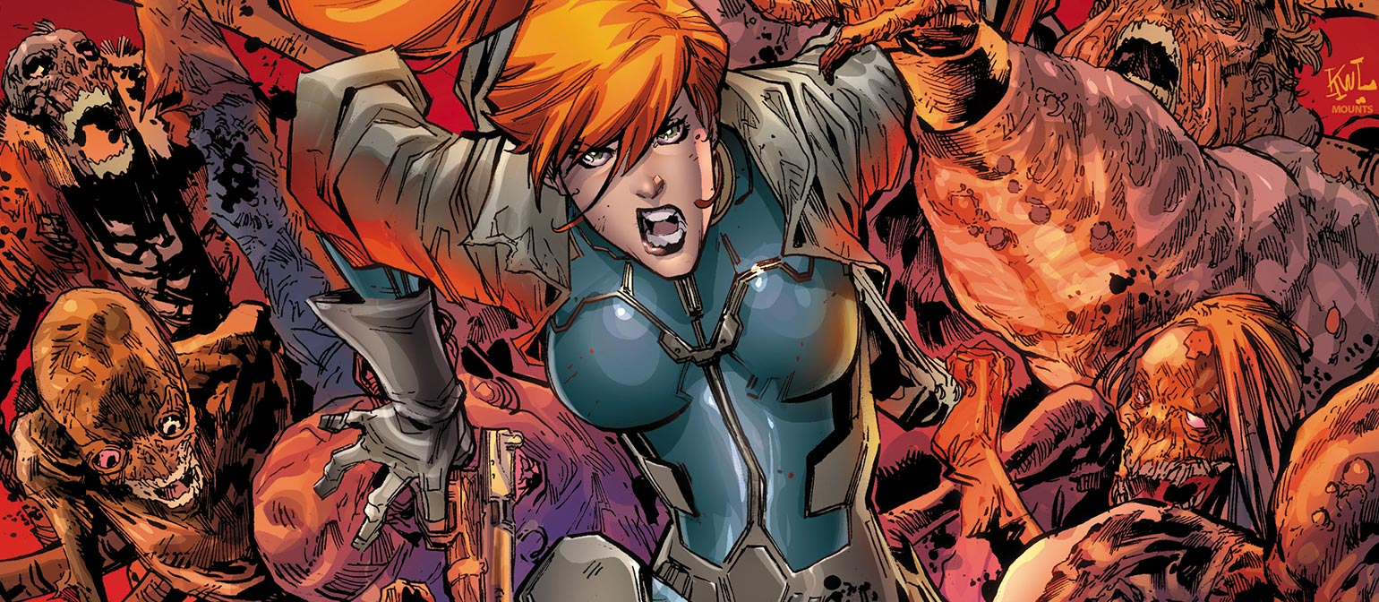 Elsa Bloodstone runs from a pack of zombies as my first recommendation to be added to Midnight Suns.