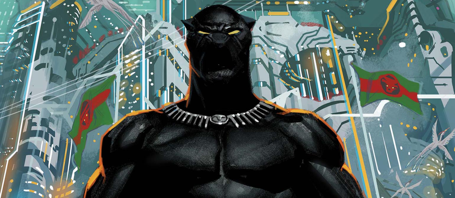 Black Panther stands with a Wakandan city to his back.