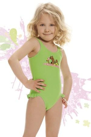 reducere Costum de baie fetite Smiling verde, cel mai mic pret