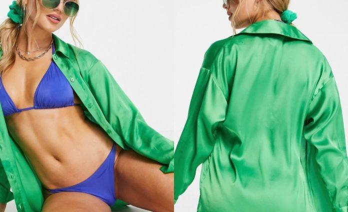 ASOS DESIGN satin shirt in green
