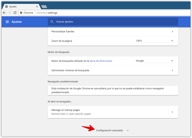 Configuracion Avanzada Chrome Canary