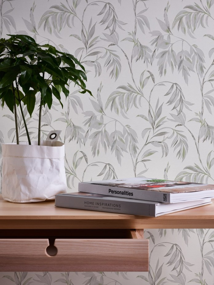 Floral Foaming Wallpaper Attractive Calm White Green Branches