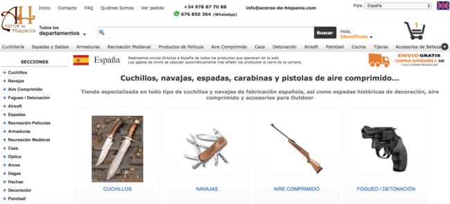 Página primordial de Aceros de Hispania