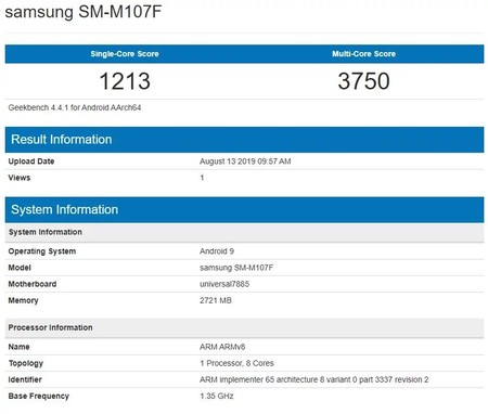 Geekbench del Galaxy M10s