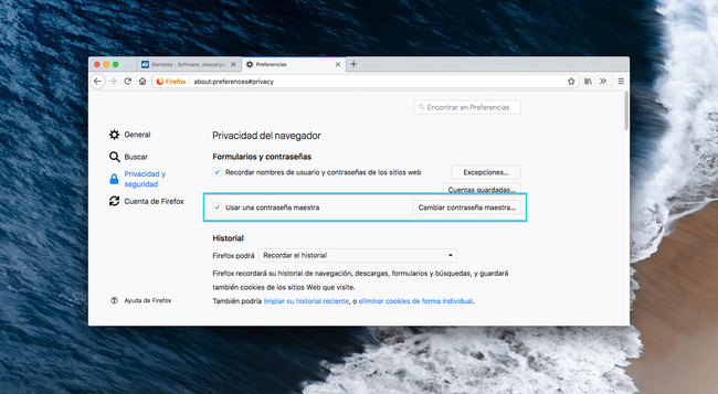 Contrasena Maestra Firefox