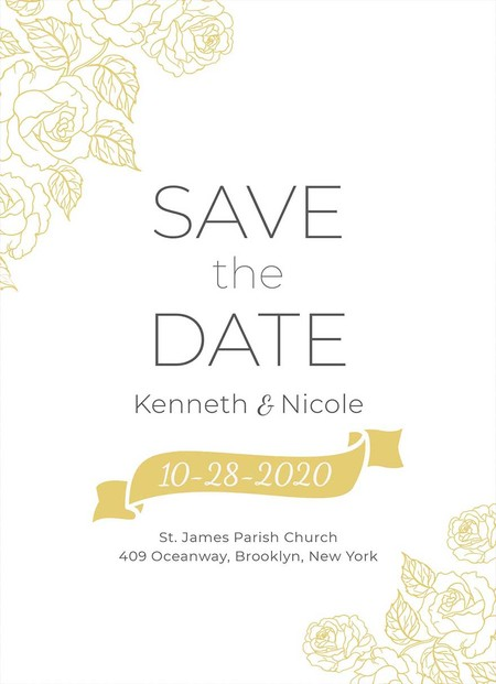 Save The Date Wedding Invitation Template 2x