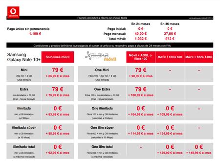 Precios Samsung℗ Galaxy℗ Note 10 256 Gb A Plazos Con Tarifas Vodafone