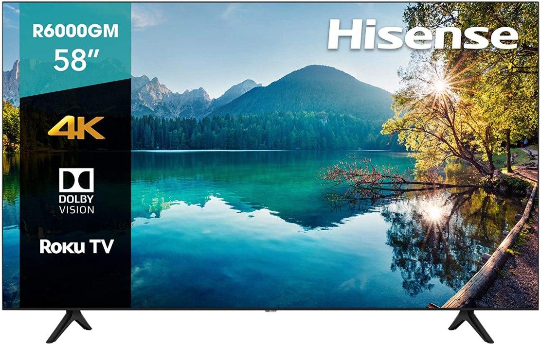 Hisense, 58 pulgadas, 4K HDR, Roku TV