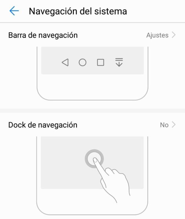 Cómo habilitar el Dock o intercambiar el orden de los botones virtuales de navegación