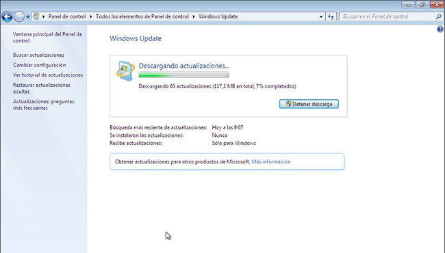 Instalar Actualizaciones Windows 7