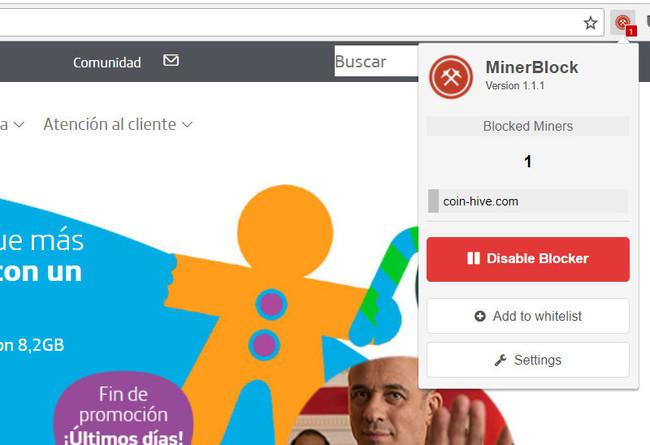 MinerBlock en acción con la web de Movistar España en el incidente de hace unas semanas.