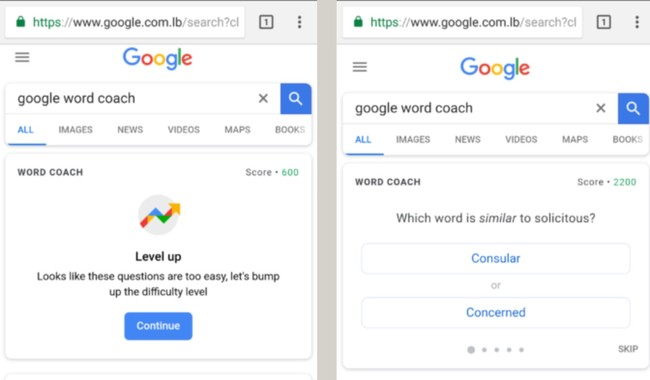 Window Y Google® Word Coach Tests Your Vocabulary Knowledge In Bite Sized Questions