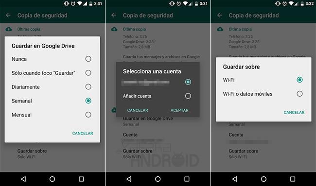 WhatsApp y Google Drive