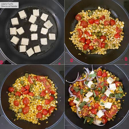 Corn Saute Tomato Steps