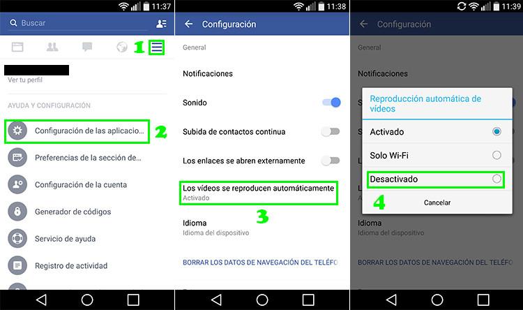 Desactivar Fb Android