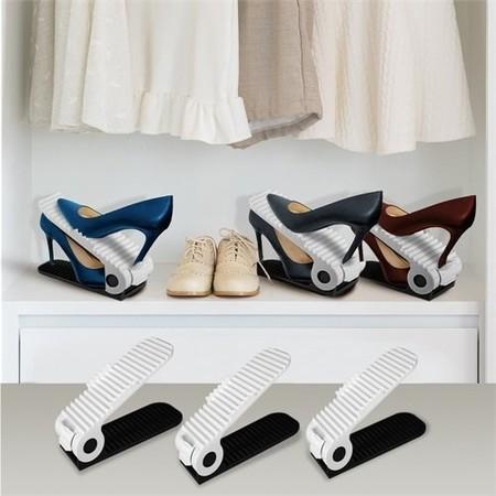Adjustable Shoes Organizer Plastic Rack Footwear Rack White Space Saver Set Of 10