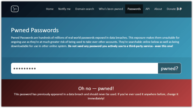 Have I Been Pwned Pwned Passwords