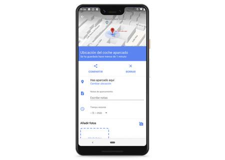 Opciones Aparcamiento Google Maps