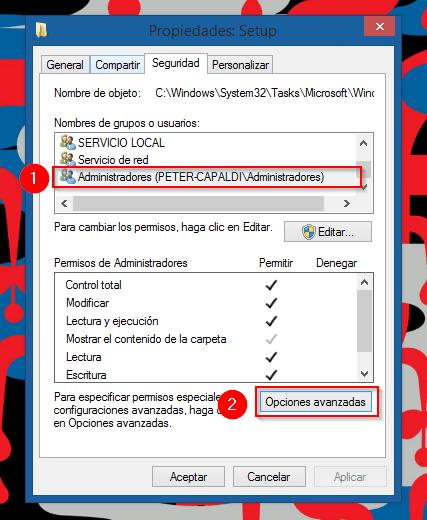 Icono Windows10 Permisos