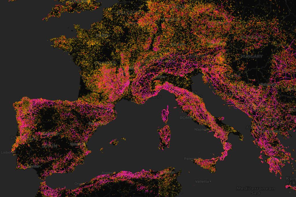 Curvature, el mapa que recopila las carreteras con más curvas del planeta