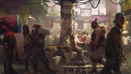 Gente en los barrios bajos de Night City