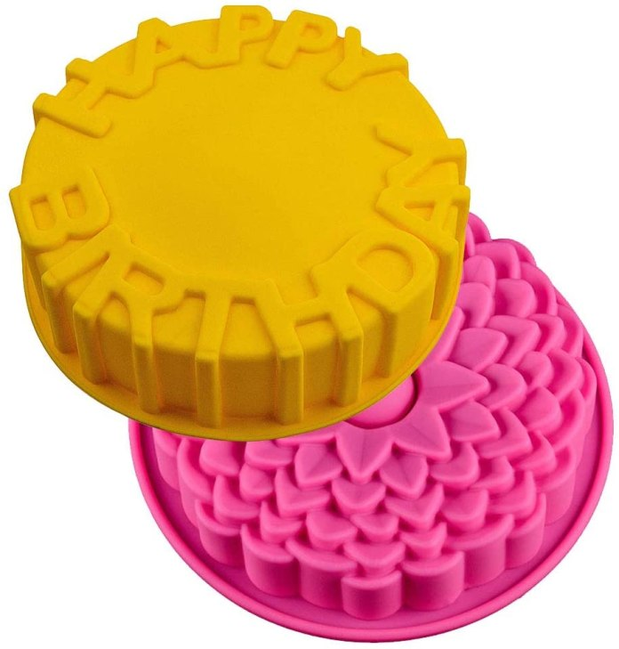 JAHEMU Cake Molds Non-stick Silicone Molds Baking Tray Kitchen Mold Pastry Bread Chocolate Jelly Birthday Party Molds 2 PCS (Flower Design)