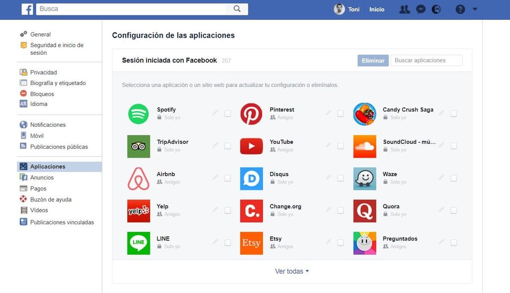 Facebook Eliminar Aplicaciones Conectadas