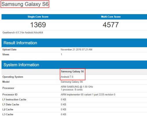 Samsung ©Galaxy S6 con Nougat GFXBench