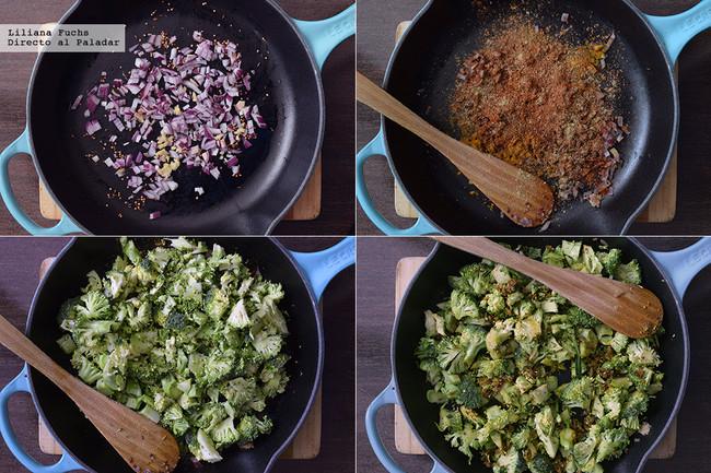 Sartén de brócoli con especias y coco. Receta de inspiración india ligera y vegana. Pasos