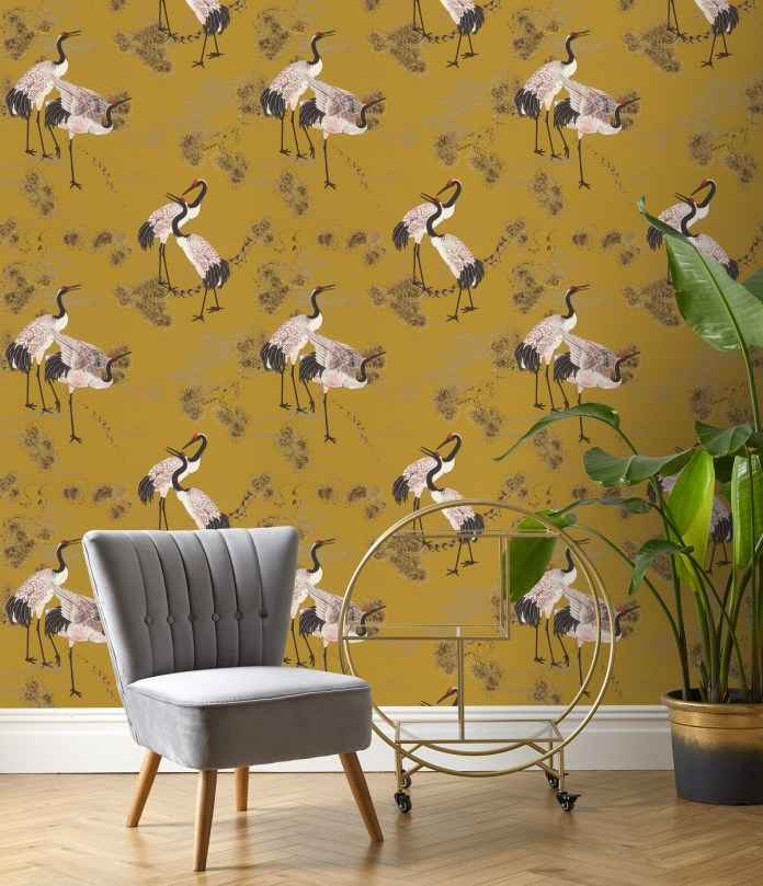 Herons animal vinyl wallpaper Mustard yellow