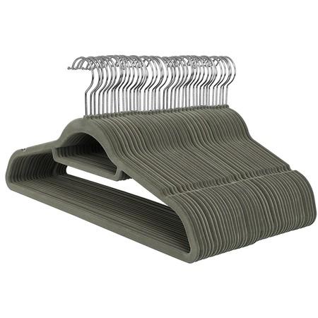 Ongmics Velvet Fine Hangers Non-Slip 45 X 24 X 0 6 Cm 50 Units Gray Crf50v