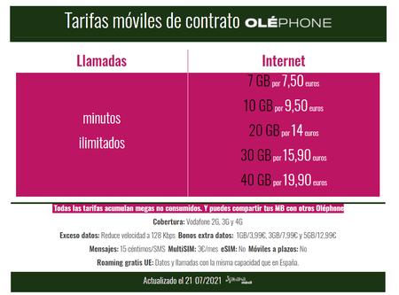 Nuevas Tarifas Moviles De Contrato Olephone En Julio(mes) De 2021