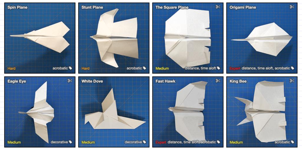 Esta web(www) te enseña a crear practicamente cualquier tipo de aeroplano de papel