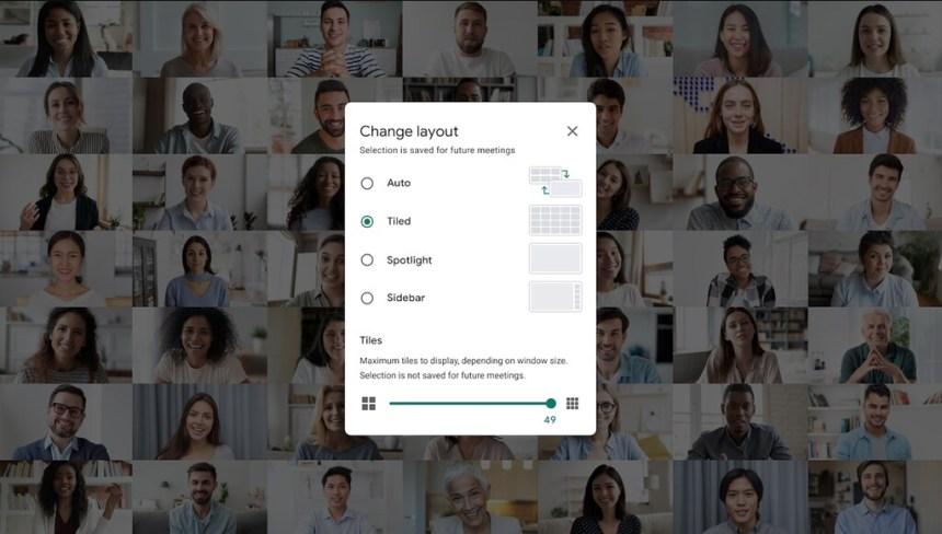 Google Meet ya es capaz de desenfocar el fondo y mostrar a 49 personas en pantalla de a la vez
