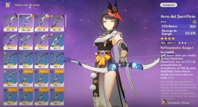 Weapons for Kujou Sara