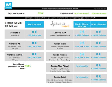 Precios Iphone 12 Mini De 128 Gb A Plazos Con Tarifas Movistar