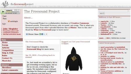 The Freesound Project, un sitio gratuito con muchos recursos pero que necesita de registro