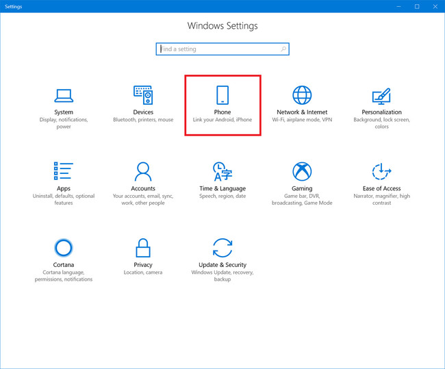 Ajustes Phone Windows 10