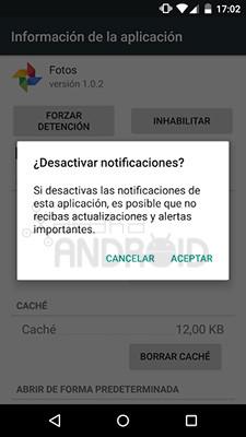 Desactivar notificaciones