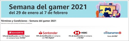 Promociones bancarias de la Semana del Gamer en Amazon México