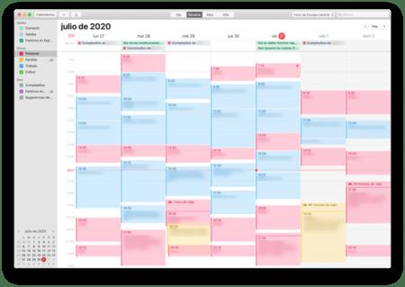 Screenshot of my calendar.