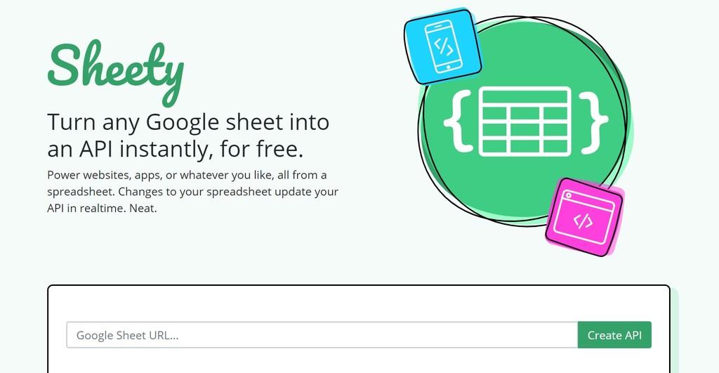 Sheety, un servicio que te acepta cambiar una hoja de cálculo de Google® en una API gratis(libre) y la instante