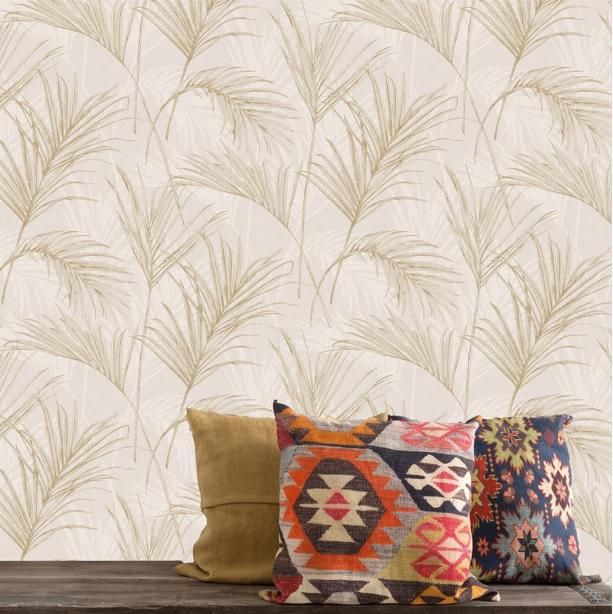 Floral Vinyl Wallpaper Palm Tree Golden Beige
