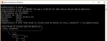 Así es usar la consola Bash de Ubuntu en Windows 10